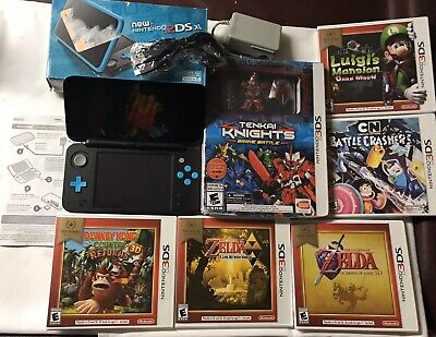 """Great Nintendo 2DS XL Black/Blue, W/Chargers, Box & 6 new """"Sealed"""" Games"""