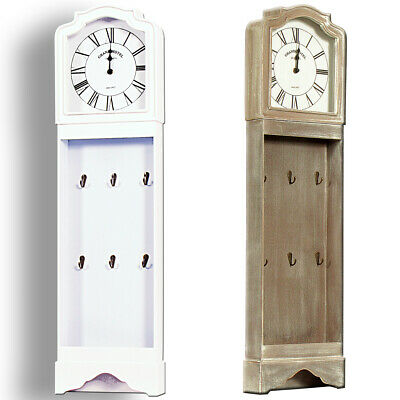 Granddaughter ornamental long-case clock with key hooks. 96cm tall