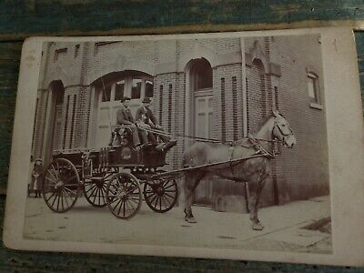 antique cabinet card photo horse drawn fire wagon 1870s fireman neversink pa