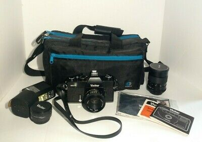 Vivitar 220/SL 35MM Film SLR Camera With 135mm 1:2.8 Auto Telephoto 50 mm Lens