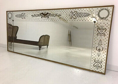 Mid Century French Verre Eglomise Buttoned & Panelled Gilt Mirror Vintage Foxed