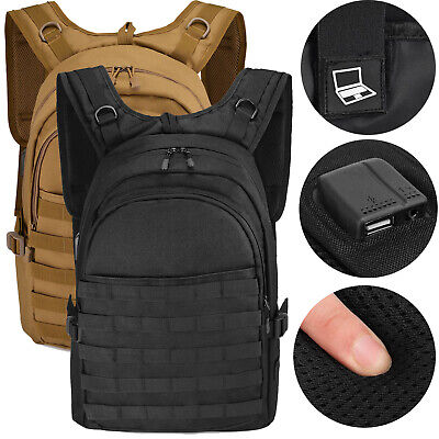 Military Tactical Backpack Molle Waterproof USB Rucksack Mens Outdoor Hiking Bag