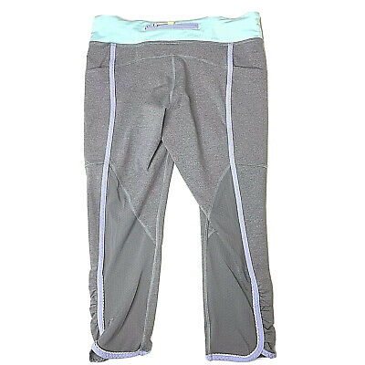 Ivivva Girls Dance Quick Trip Crop Pants Size 14 EUC Gray Teal Lavender Leggings
