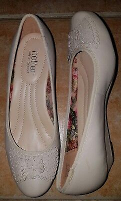 Hotter 'Pollyanna' Comfort Concept Cream Shoes Uk 6.5 Euro 40 New