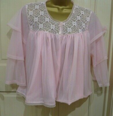 Vintage 70S Coop British Made Pretty Pink 2 Layer Nylon Bed Night Jacket Sz12-14