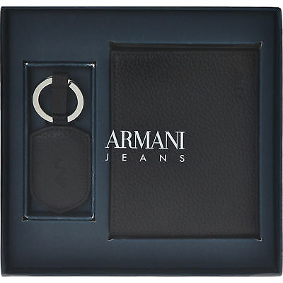 ARMANI JEANS Black Leather Wallet And Keyring Gift Set In Gift Box. Christmas