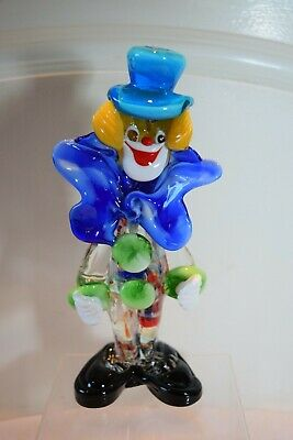 Murano Glass Clown with Big Blue Bow & Hat. 8.5 Inch High Good Condition.