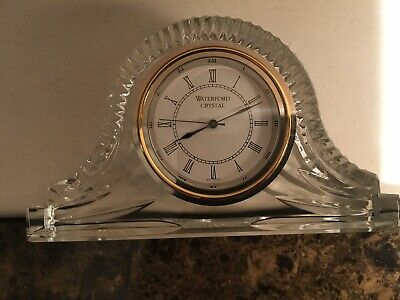 Stunning Waterford Crystal Napoleon Hat Shaped Mantle Clock 6 3/4 In Wide