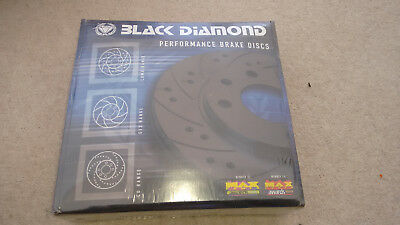 Black Diamond Front Solid Brake Discs Mercedes 190/190E W201 2.0 drilled groved