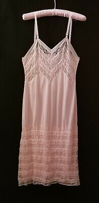 Vintage Pink Slip with Lace Top and Bottom Unbranded