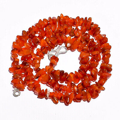 """Natural Carnelian Gemstone Uncut Smooth Beads Necklace 5-11 mm 17"""" GB-3607"""