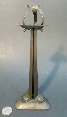 RARE Antique ARTS & CRAFTS Hammered Copper Triangular Strap Riveted Candlestick
