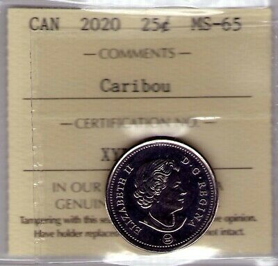 2020 Canada Caribou 25 cent ICCS MS-65