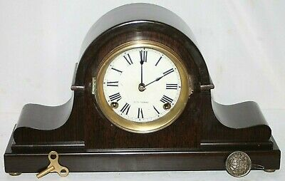 Antique Seth Thomas 8 Day Mahogany Adamantine Napoleon Hat Tambour Mantel Clock.