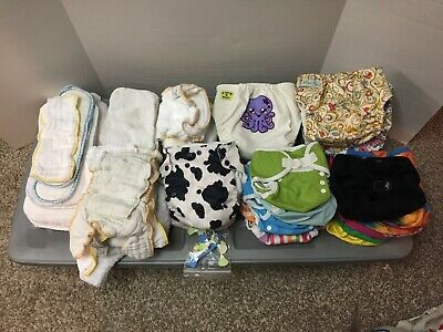 Large Lot of Cloth Diapers, Liners & More Newborn to Large - Over 50 Pieces WOW!