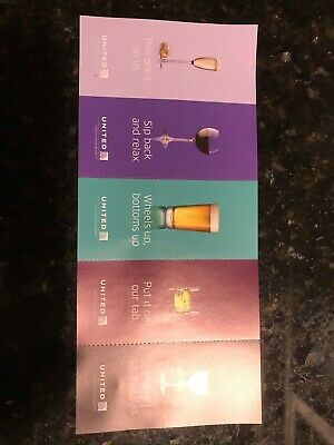 Five (5x) United Airlines Drink Alcohol Coupons Vouchers Exp. 1-31-2022
