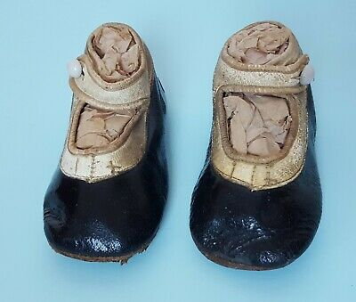 Antique Victorian Pair 2-Tone Leather Baby Child Doll Strap Shoes