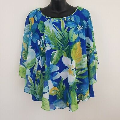 Alfred Dunner Women's Blouse Plus Size 18W Blue Floral Batwing Embellished Top