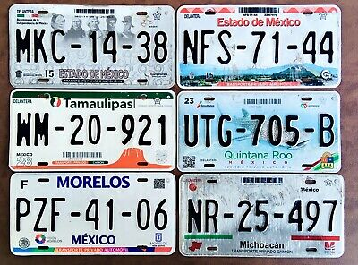 MEXICO License plates LOT OF 6 PLATES Expired Graphic GREAT !!!!!
