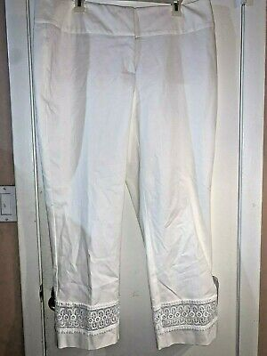 Women's Pants Alfani Tummy Control Ankle Slim Leg White Plus Size 14W NWT $85