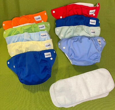 Lot Of 9 FuzziBunz Cloth Diapers with Inserts Size Small