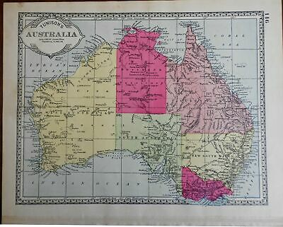 Australia 1890's New South Wales map Oceania Indian Ocean