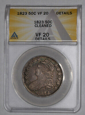 1823 Capped Bust Half Dollar, ANACS VF 20 Details Cleaned