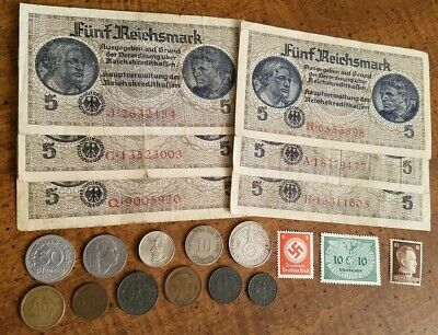 OLD GERMAN SILVER w/ WW2 RARE BANKNOTES / COINS - 21pc LOT! - WWII Collection!