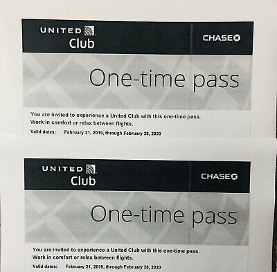 Two United Club One Time Lounge Passes Valid Until 02/28/2020*E-Delivery avail