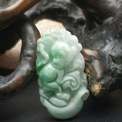 AAAAA Chinese Hand-carved aristocratic wearing Jadeite jade pendant jade monkey
