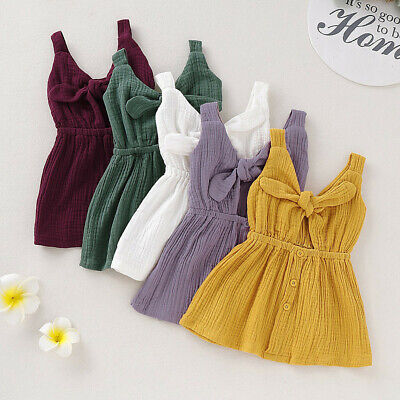 Toddler Infant Kids Baby Girls CuteSleeveless Straps Bow Button Princess Dress