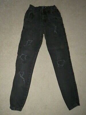 """Boy's SikSilk Skinny Ripped Jeans Charcoal - Size XS W28"""" L27"""" Freshly laundered"""