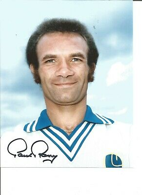 Paul Reaney Signed Colour Football Photo Pictured In Leeds United Kit JM89