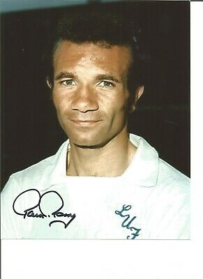 Paul Reaney Signed Colour Football Photo Pictured In Leeds United Kit JM88