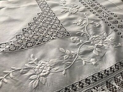 """Vintage Drawn Work Tenerife White Linen Tablecloth Embroidered Flowers 50"""""""