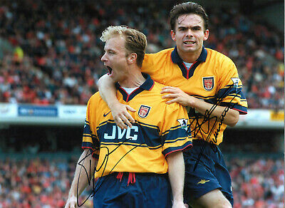 Dennis Bergkamp Marc Overmars Arsenal hand signed authentic football photo S002