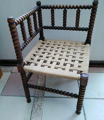 Antique Arts & Crafts Bobbin Turned Corner Chair
