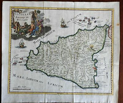 Ancient Sicily Italy Syracuse Mount Etna ships Sicilia 1711 Cluverius map