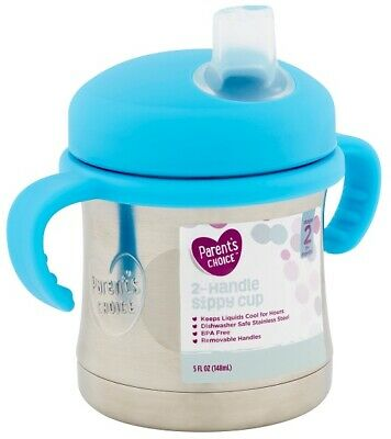Parents Choice 2-Handle Sippy Cup Stainless Steel Stage 2 insulated- Color Blue