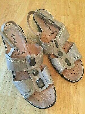 Ladies Beige Sandals, Cushion Walk, Leather Lined Size Uk 5 / Eur 38 Bnwot Sale!