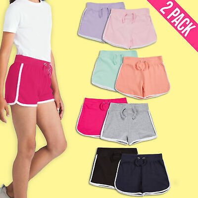 Girls 100% Cotton Shorts Summer Holiday Contrast Stripe Children Pack Of 2 Or 3
