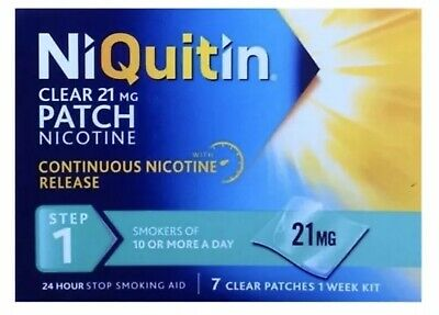 10 x Niquatin Step 1 21mg 24 Hour Clear Patches 7 Days Brand New ( £5 Per Pack )