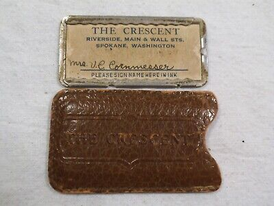 "Vintage Spokane,WA ""The Crescent""Early Dept Store Plate Credit Card w/ Sleeve-fc"