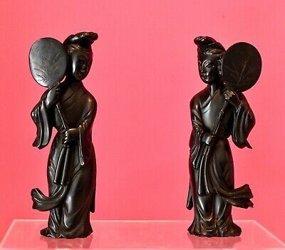 MATCHED PAIR Vintage Chinese Cherry Amber Bakelite carved figurines holding fans