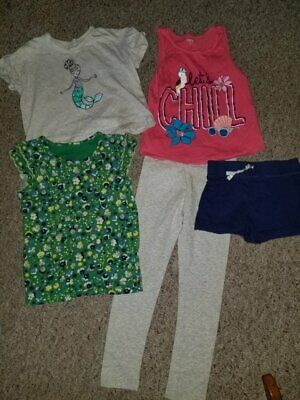 Lot of Little Girls Tops Shorts Leggings Size 5-6