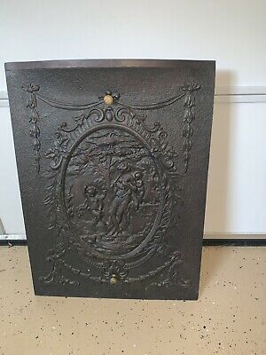 Antique Cast Iron Embossed Fireplace Fire Back Fireback Screen Door