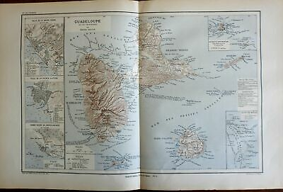 Guadeloupe French Caribbean colonies St. Martin Lesser Antilles c.1885 old map