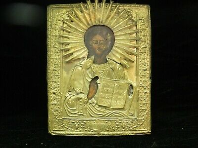 Antique 19th C Russian Hand Painted Wooden Icon of Jesus Christ in Brass
