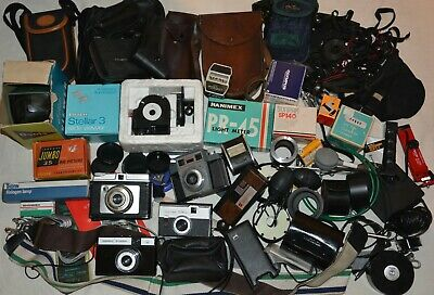 Job lot vintage photography equipment, cameras, lenses, cases, meters, + more