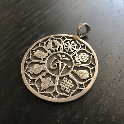 Fine Old Chinese Tibetan Precious Scholar Objects Sterling Silver Pendant Art